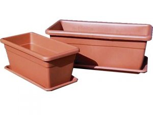 maceta rectangular terracota c/plato 60x25cm